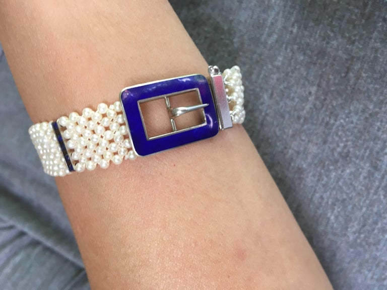 Blue Enamel Buckle with Woven Pearl Bracelet and Lapis Lazuli by Marina J. For Sale 3