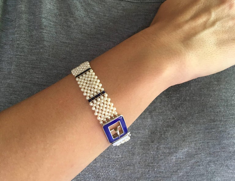 Blue Enamel Buckle with Woven Pearl Bracelet and Lapis Lazuli by Marina J. For Sale 4