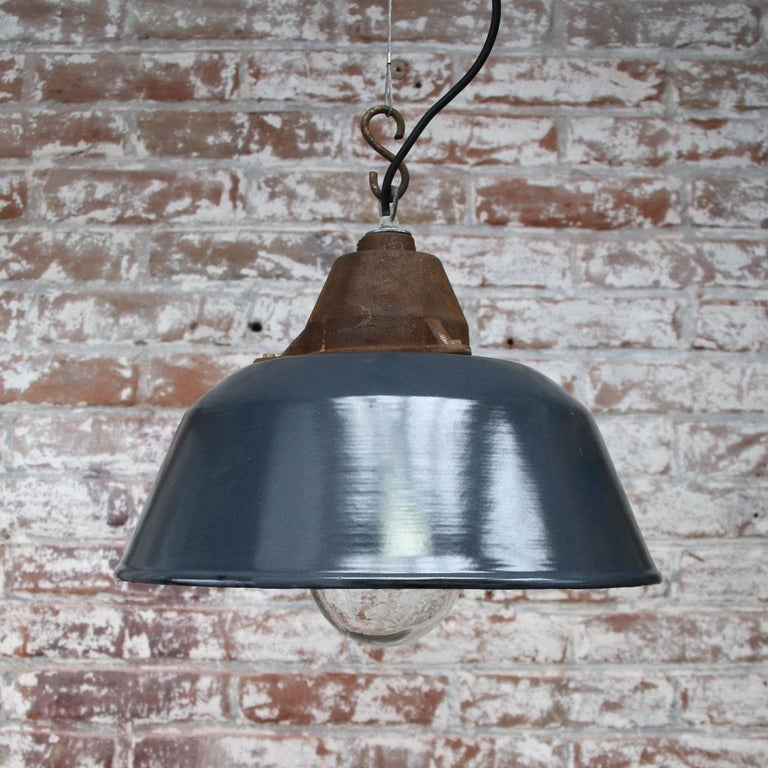 Blue Enamel Vintage Industrial Cast Iron Clear Glass Pendant Lights In Good Condition For Sale In Amsterdam, NL