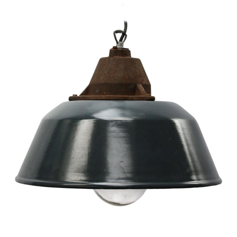 20th Century Blue Enamel Vintage Industrial Cast Iron Clear Glass Pendant Lights For Sale