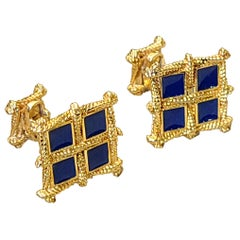Blue Enamel Cufflinks Set in 14 Karat Gold