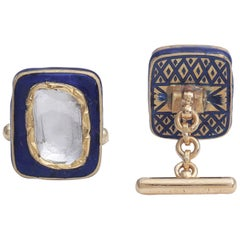 Blue Enamel Cufflinks with 1.10 Carat Diamonds Handcrafted in 18 Karat Gold