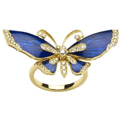 Blue Enamel Diamond and Gold Butterfly Ring