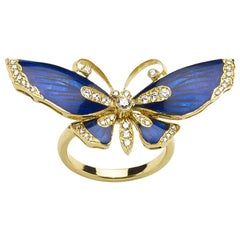 Blue Enamel Diamond Gold Butterfly Ring