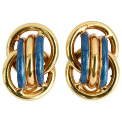 Blue Enamel Gold Earrings