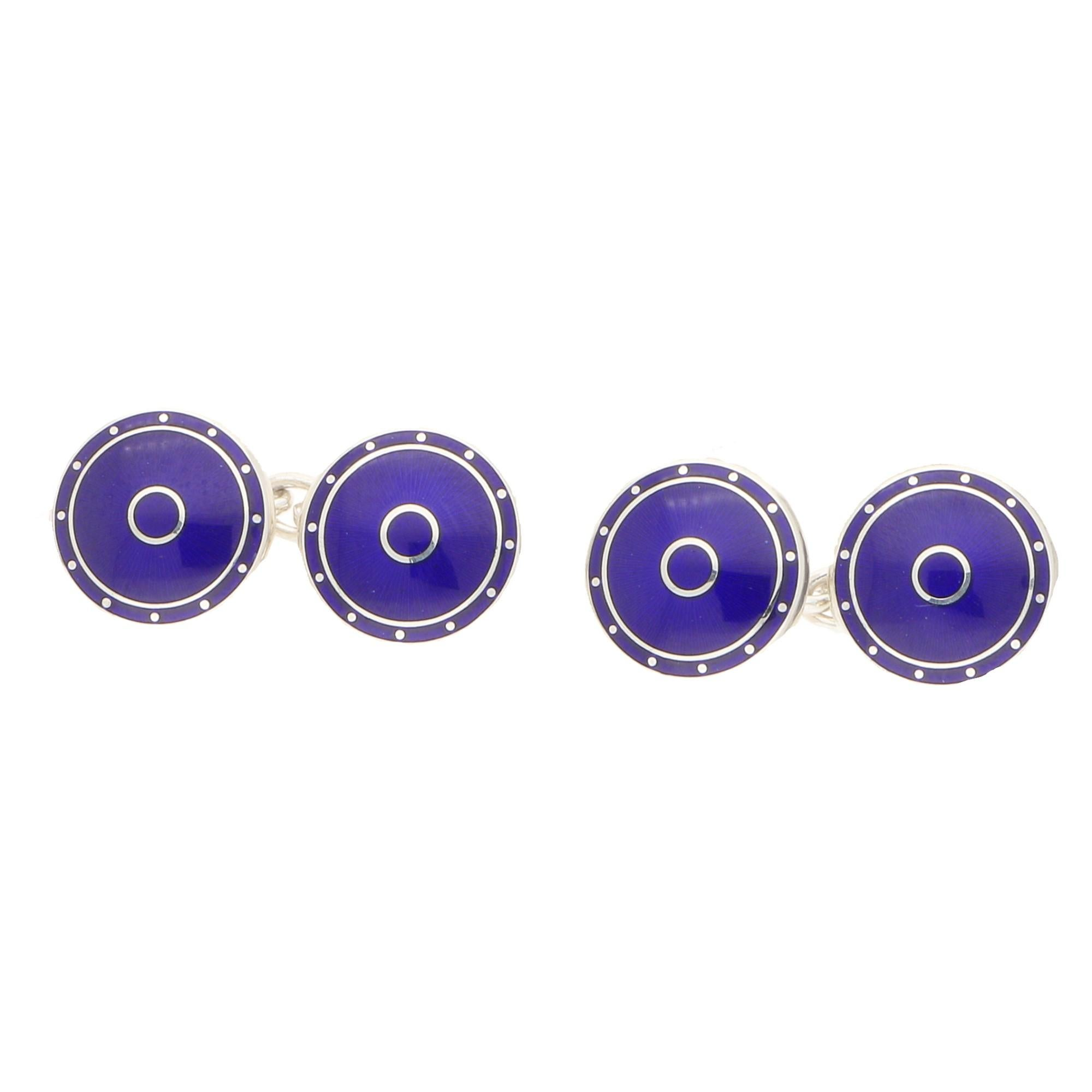 Blue Enamel Round Chain Link Cuff-links in Sterling Silver