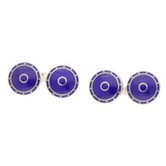 Blue Enamel Round Chain Cufflinks in Sterling Silver