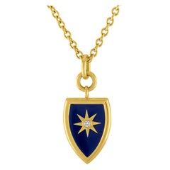 Blue Enamel Shield Pendant in 14 Karat Gold with Diamond Star