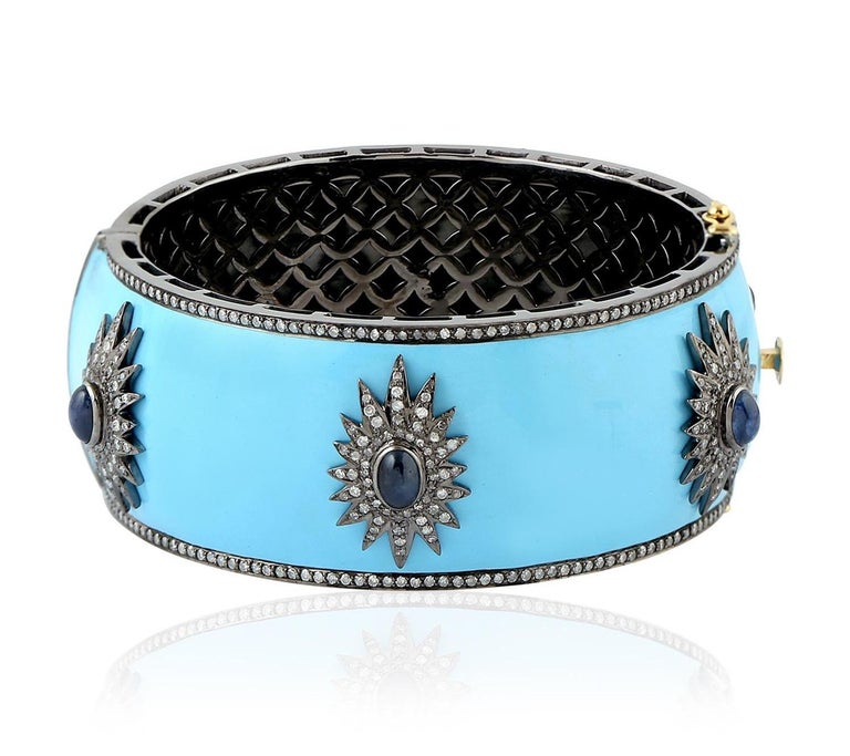 Blue Enamel Starburst Diamond Bangle Bracelet In New Condition For Sale In Hoffman Estate, IL