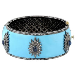 Blue Enamel Starburst Diamond Bangle Bracelet