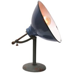 Blue Enamel Vintage European Desk Table Lamp