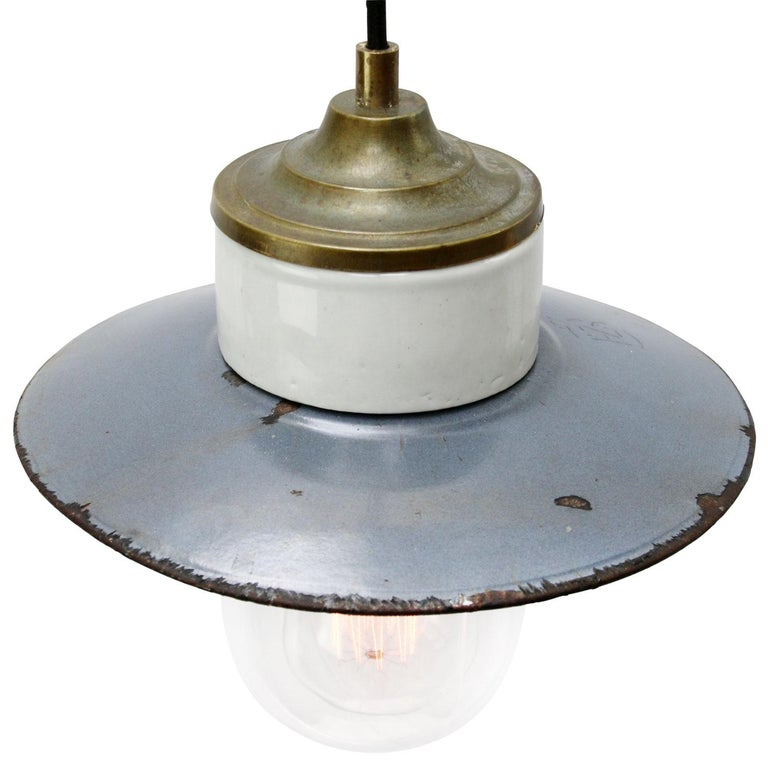 Porcelain Industrial hanging lamp.