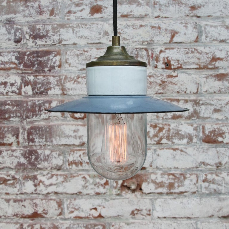 Blue Enamel Vintage Industrial Brass Porcelain Clear Glass Pendant Light In Good Condition For Sale In Amsterdam, NL
