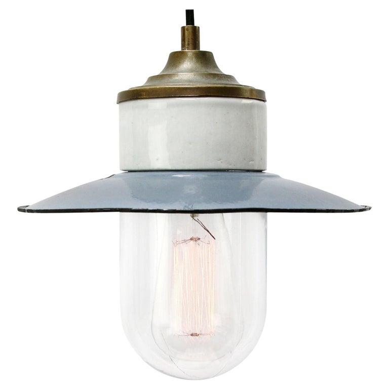 Blue Enamel Vintage Industrial Brass Porcelain Clear Glass Pendant Light For Sale