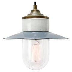 Blue Enamel Vintage Industrial Brass Porcelain Clear Glass Pendant Light