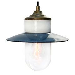 Blue Enamel Vintage Industrial Brass Porcelain Clear Glass Pendant Lights