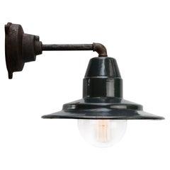 Blue Enamel Vintage Industrial Cast Iron Arm Wall Lamps