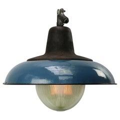 Blue Enamel Vintage Industrial Cast Iron Holophane Glass Pendant Lamp