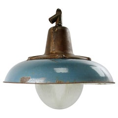 Blue Enamel Vintage Industrial Cast Iron Holophane Glass Pendant Lamp