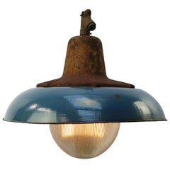 Blue Enamel Vintage Industrial Cast Iron Holophane Glass Pendant Lamps