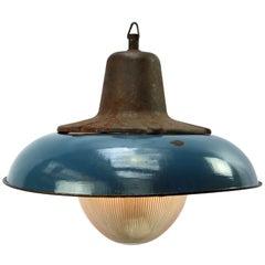 Blue Enamel Vintage Industrial Cast Iron Holophane Glass Pendant Lamps (10x)