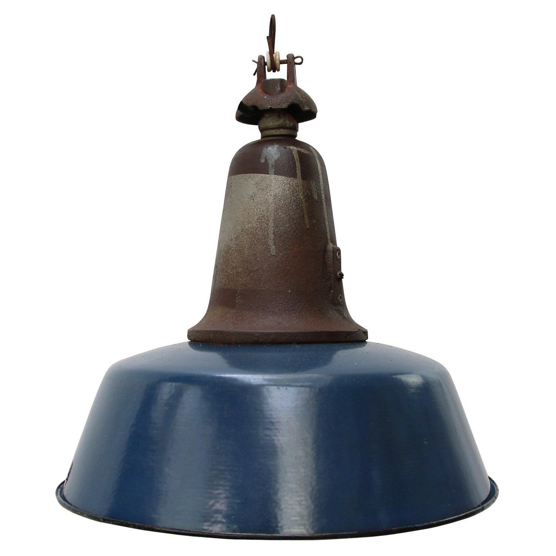 Blue Enamel Vintage Industrial Cast Iron Pendant Lamp