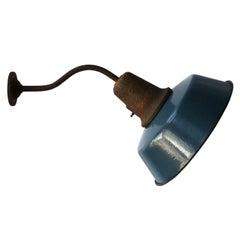 Blue Enamel Vintage Industrial Cast Iron Wall Light