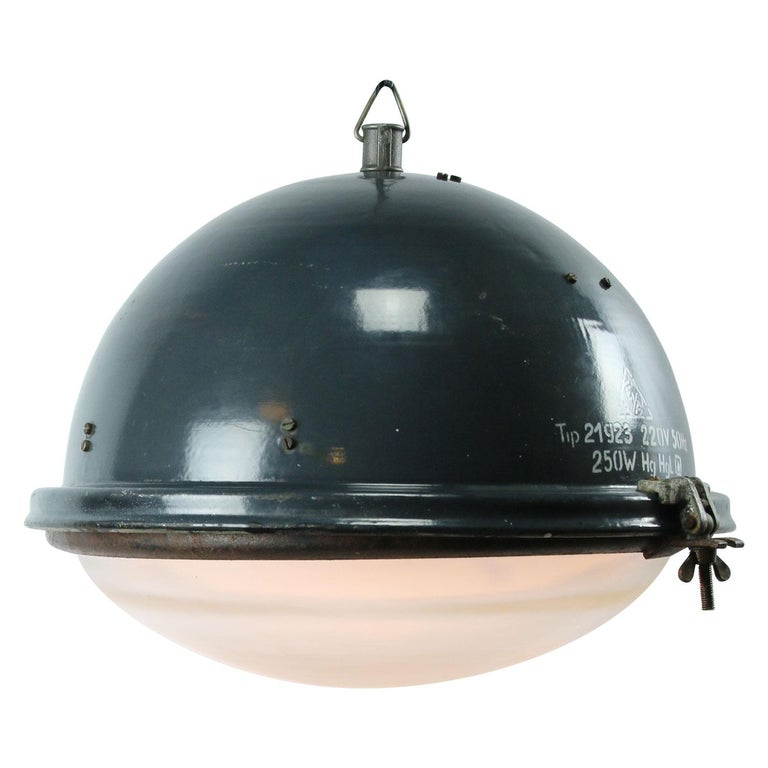 Factory pendant. Blue enamel white interior. Cast iron hook.