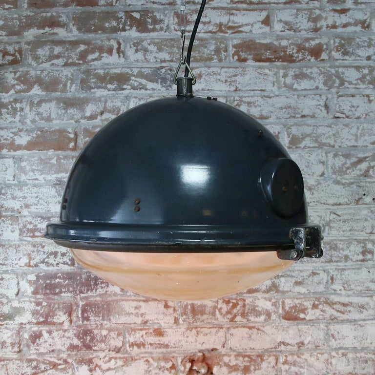 Blue Enamel Vintage Industrial Clear Glass Pendant Lamps In Good Condition For Sale In Amsterdam, NL
