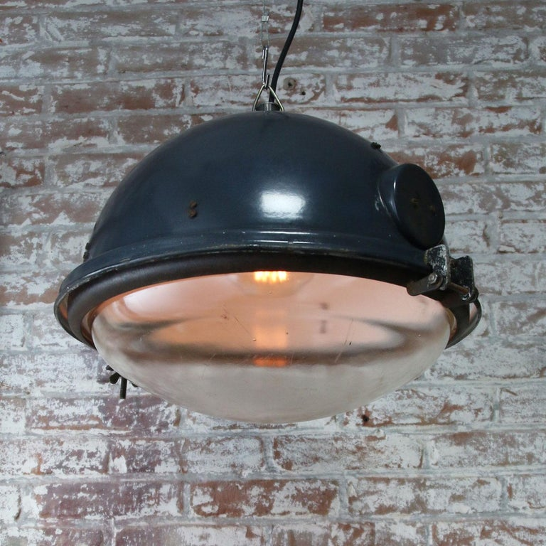 20th Century Blue Enamel Vintage Industrial Clear Glass Pendant Lamps For Sale