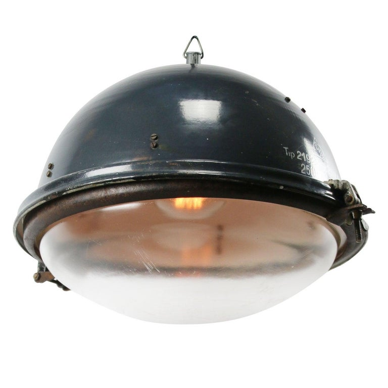 Blue Enamel Vintage Industrial Clear Glass Pendant Lamps For Sale