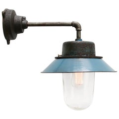 Blue Enamel Vintage Industrial Clear Glass Scones Wall Lights