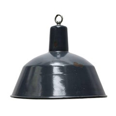 Blue Enamel Vintage Industrial Factory Hanging Light