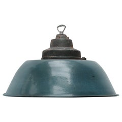 Blue Enamel Vintage Industrial Factory Pendant