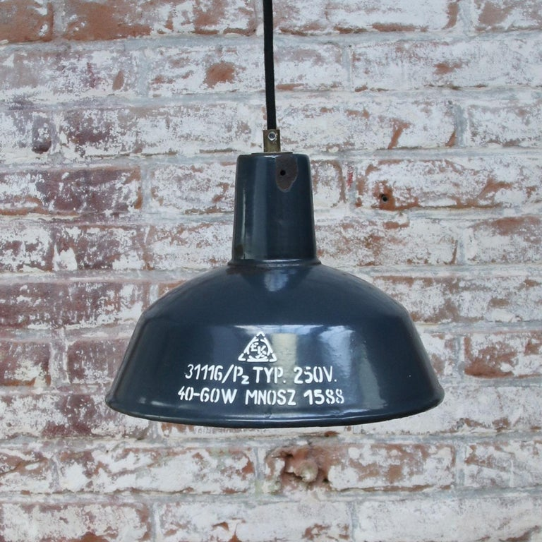 Blue Enamel Vintage Industrial Factory Pendant Light In Good Condition For Sale In Amsterdam, NL