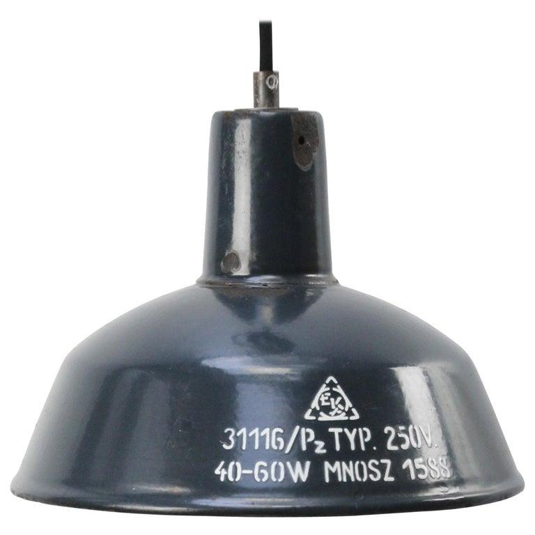Blue Enamel Vintage Industrial Factory Pendant Light For Sale