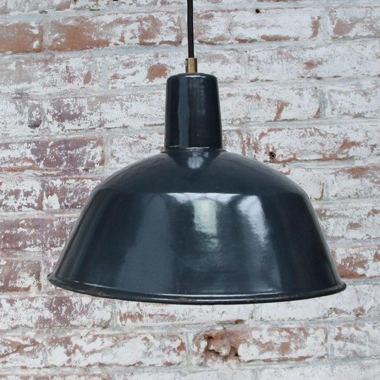 20th Century Blue Enamel Vintage Industrial Factory Pendant Lights For Sale