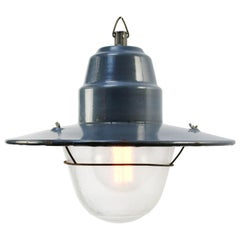 Blue Enamel Vintage Industrial Frosted Glass Factory Pendant Light