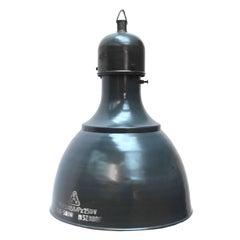 Blue Enamel Vintage Industrial Pendant Hanging Lamps (2x)
