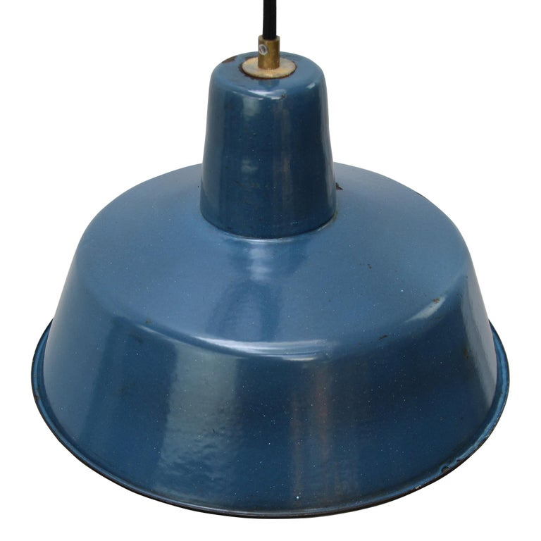 Vintage industrial pendant. Blue enamel with white interior.  Weight: 1.3 kg / 2.9 lb.  Priced per individual item. All lamps have been made suitable by international standards for incandescent light bulbs, energy-efficient and LED bulbs.