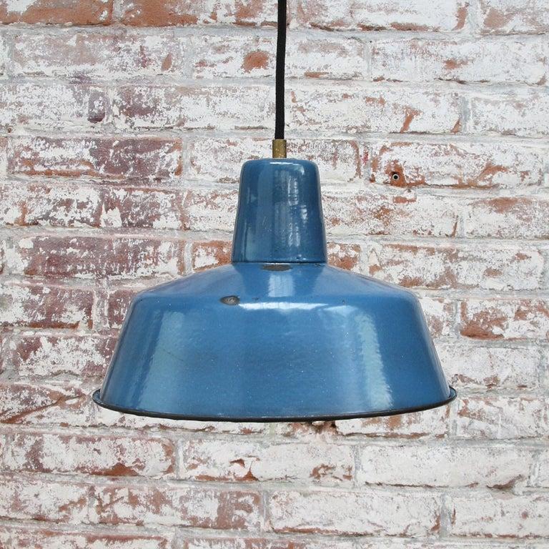 Blue Enamel Vintage Industrial Pendant Light In Good Condition In Amsterdam, NL