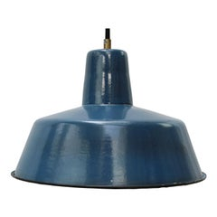 Blue Enamel Vintage Industrial Pendant Light