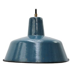 Blue Enamel Vintage Industrial Pendant Light