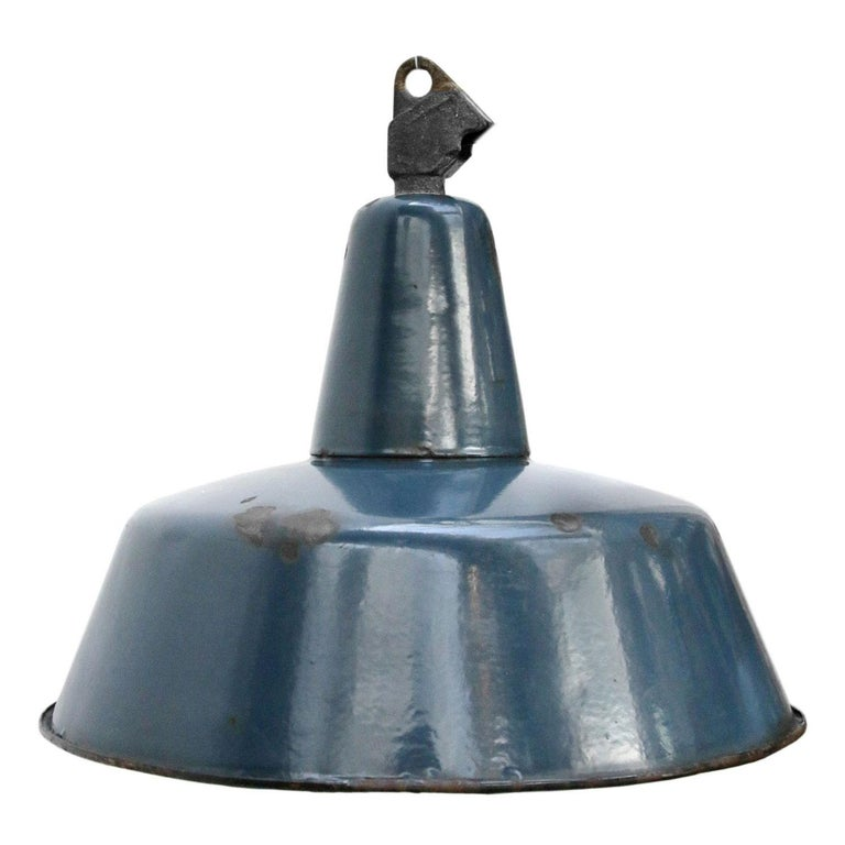 Vintage Industrial Enamel Pendant Light: Blue Enamel Vintage Industrial Pendant Light For Sale At