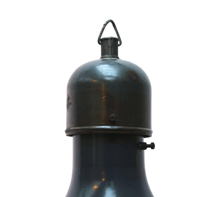 Blue large factory light blue enamel. White interior cast iron top.  Weight: 2.8 kg / 6.2 lb  Priced per individual item. All lamps have been made suitable by international standards for incandescent light bulbs, energy-efficient and LED bulbs.