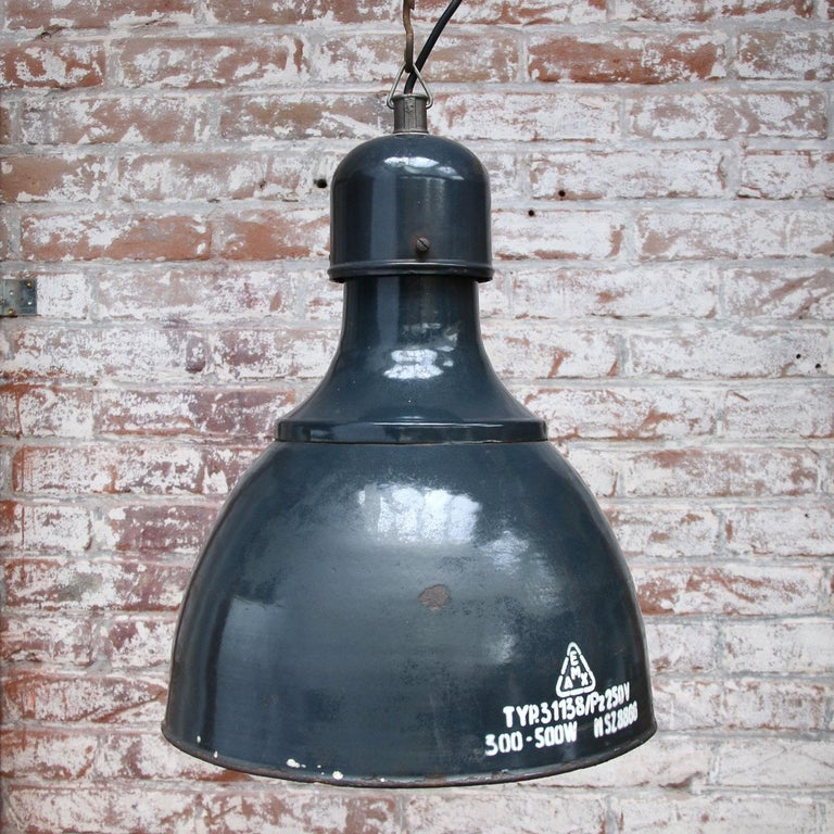 Blue Enamel Vintage Industrial Pendants Hanging Lamps In Good Condition For Sale In Amsterdam, NL