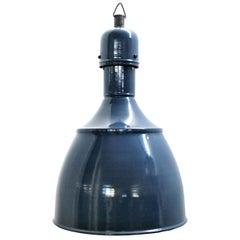 Blue Enamel Vintage Industrial Pendants Hanging Lights NOS