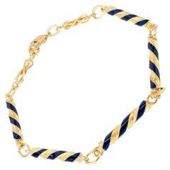 Blue Enamel Yellow Gold Swirl Link Bracelet