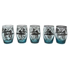 Blue Enamelled Bohemian Glass Liquor Glasses