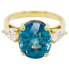 Three Stone Engagement Ring in 14 Karat Gold Three-Stone Blue Zircon 8.45 Carats